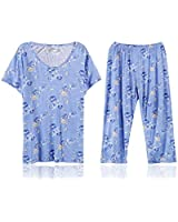 Women's Lace Embroidered Short Sleeve Pajama Set
