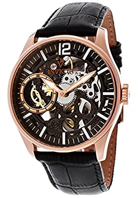 Invicta Men's 12408 Vintage Rose Gold-Tone Stainless Steel Mechanical Skeleton Watch with Leather Band