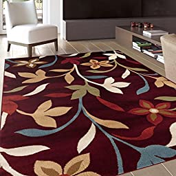 Modern Contemporary Leaves Design Burgundy Area Rug 5\' 3\