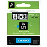 DYMO Standard D1 Labeling Tape for LabelManager Label Makers, Black print on Clear tape, 3/8'' W x 23' L, 1 catridge (40910)