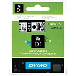 DYMO Standard D1 Labeling Tape for LabelManager Label Makers, Black print on Clear tape, 3/8\'\' W x 23\' L, 1 cartridge (40910)