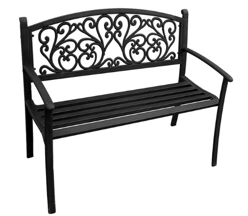 Jordan 3K-SSCROLL Steel Park Bench with Scroll Design in The Back, 50-Inch by 21.6-Inch by 34-Inch