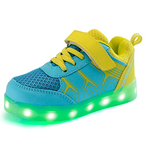 DoGeek-Zapatos-Deportivos-Para-Nios-Nias-7-Color-USB-Carga-LED-Luz-Glow-Luminosos-Light-Up-USB-Velcro-Flashing-Sneakers