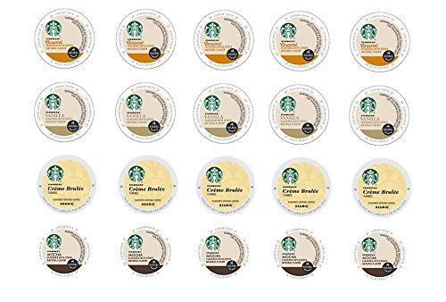 20 Count - Variety Starbucks Flavored Coffee K-Cups for Keurig K Cup Brewers and 2.0 Brewers - (4 Flavors: Vanilla, Caramel, Mocha and Creme Brulee) (Keurig K Cup Coffee Sampler compare prices)