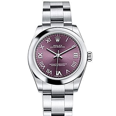 Rolex OYSTER PERPETUAL 31 Red Grape Roman Dial Steel Ladies Watch 177200