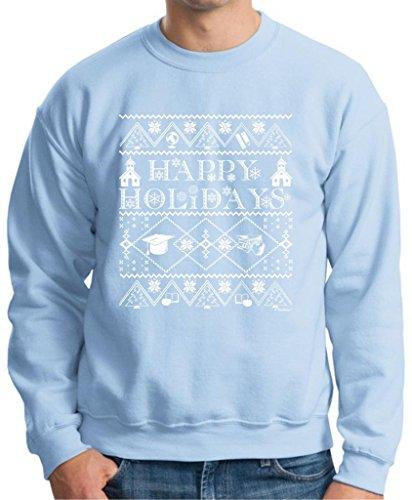 Ugly Christmas Sweater For Teachers Premium Crewneck Sweatshirt Medium Light Blue