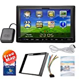 Ouku 2014 New Model 7-Inch Double-2 DIN In Dash Touch screen LCD Monitor with DVD/CD/MP3/MP4/USB/SD/AMFM/RDS/Bluetooth and GPS Navigation SAT NAV Head Deck Tape Recorder Wall Paper exchange HD:800*480 LCD Free GPS Antenna+Free Official Kudo GPS Map