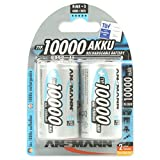 ANSMANN D Size 10000mAh NiMH High Capacity Rechargeable Batteries (Pack of 2)