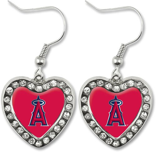 Los Angeles Angels Crystal Heart Earrings