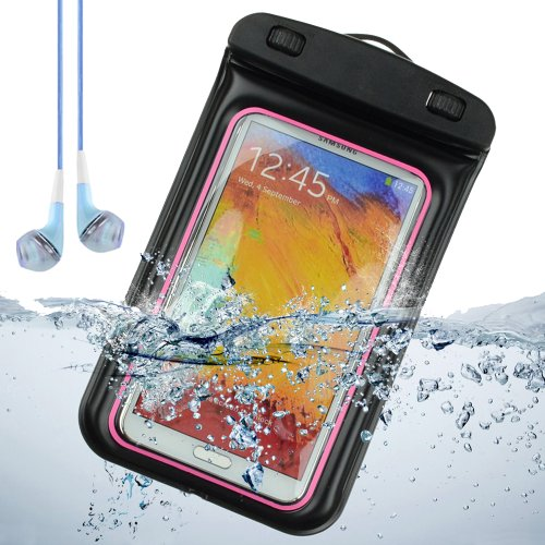 Sumaclife Waterproof Pouch Case For Samsung Galaxy Note 2 / Samsung Galaxy Note 3 / Galaxy S4 (Pink And Black) + Blue Vangoddy Earphones With Mic