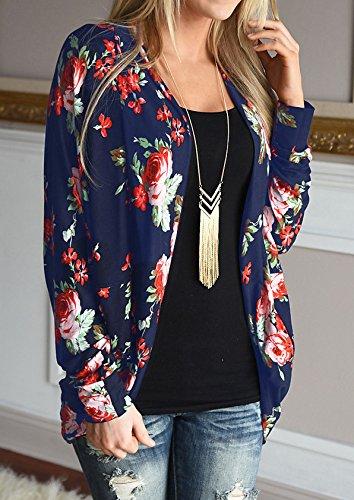 Walant Women Floral Long Sleeve Kimono Boyfriend Cardigans Coat Tops Outwear 2