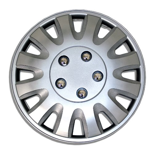 TuningPros WSC-738S15 Hubcaps Wheel Skin Cover 15-Inches Silver Set of 4 (Honda Accord Rims Set Of 4 compare prices)