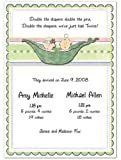 3D 2 Peas In A Pod Mixed Twins Birth Announcements - Set of 20