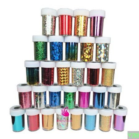 EVERMARKET Fashion 25 colors Nail Art Transfer Foil Nail Sticker Tip Decoration from Y2B (Nail Stickers Numbers compare prices)