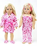 18 Inch Doll Clothes Heart or Valentine Pajama 4 Pc. Set, Fits 18