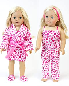 "18 Inch Doll Clothes Heart or Valentine Pajama 4 Pc. Set, Fits 18"" American Girl Dolls & More! All Matching Top/ Bottom Satin Heart Pj's, Robe & Slippers"