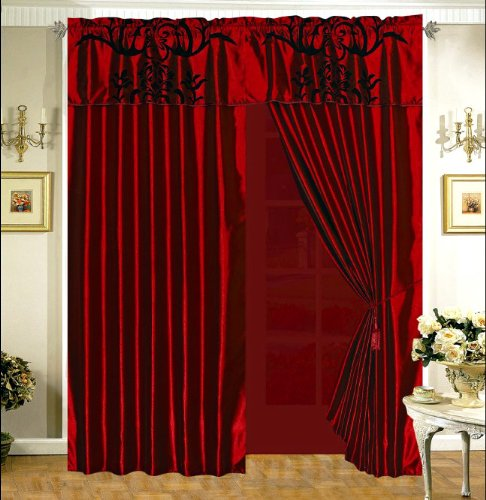 3-Layer Modern Black Burgundy Red Flock Satin Curtain Set with attached valances and sheer backing
