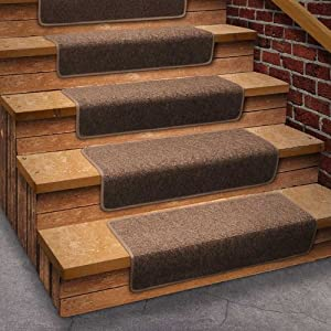 13 attachable basement step carpet stair treads brown area rugs