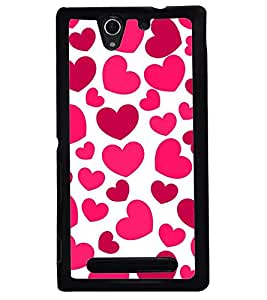 Printvisa Pink Hearts Pattern Back Case Cover for Sony Xperia C3 Dual D2502::Sony Xperia C3 D2533