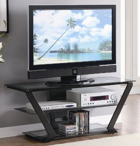 Image of Metal TV Stand with Glass Shelves in Black Finish (VF_AZ00-85110x36598)