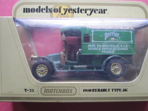 1910 Renault AG Truck (green/gold 12 spokes) Perrier Logo Matchbox Model of Yesteryear Lesney Y-25 Issued 1983 - 1
