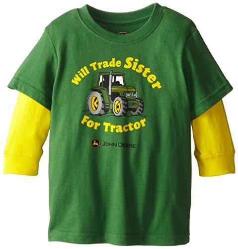 John Deere Little Boys' Will Trade Sister Layered Long Sleeve Tee, Green, 3T front-621257