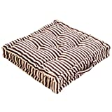 100% Cotton Chocolate Brown and Beige Thin Stripe Floor Cushion