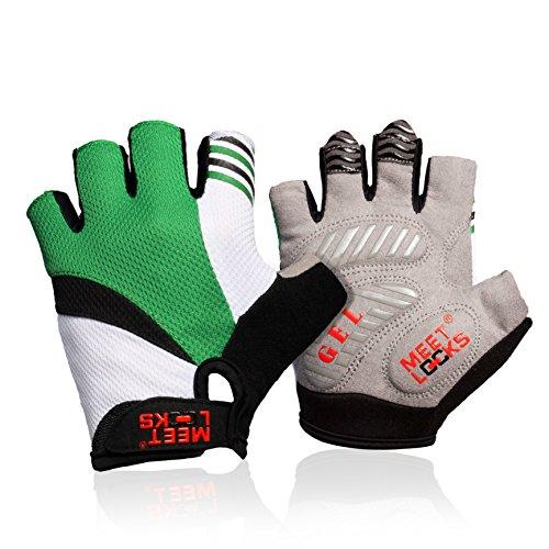 Meetlocks Metà guanti dito ciclismo con del gel del silicone Pad, panno di maglia traspirante, Lycra Tessuto per MTB di guida e Bicicletta da corsa, formato per Unisexual