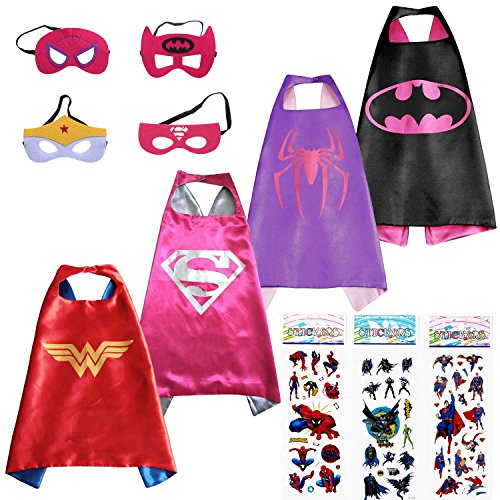Superhero-Dress-Up-Costumes-For-Girls-4-Capes-4-Masks-and-3-Stickers