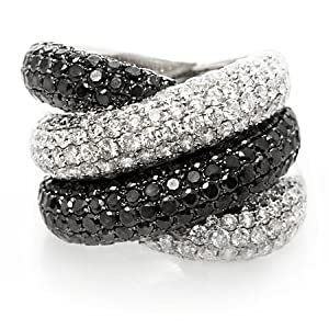 Black and White Diamond & 18k White Gold Right Hand Ring