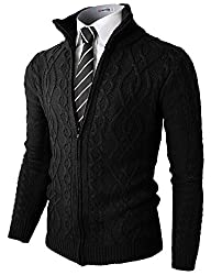 H2H Mens Casual Knitted Twisted Patterned Zip-up Cardigan BLACKCHARCOAL US S/Asia M (KMOCAL096)