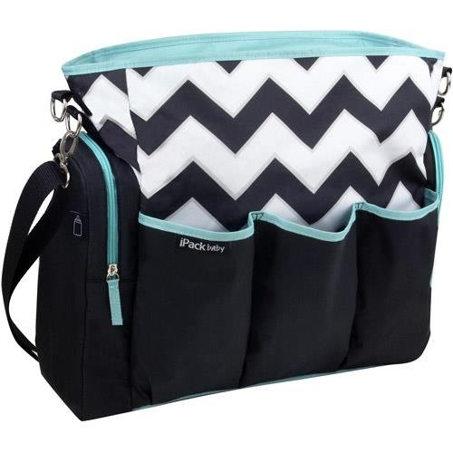 iPack Chevron Black, White, & Teal Baby Diaper Bag- IPB-01422 - 1