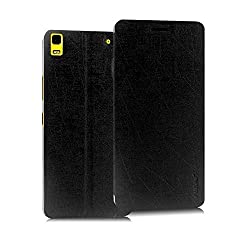 Pudini® Yusi Rain Series Leather Flip Cover Stand Case for Lenovo A7000 - Black