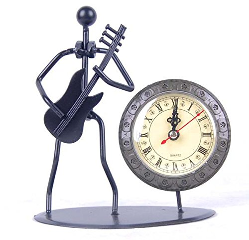 ZOVIE Antique Hand Made Crafts Retro Style Desk & Shelf Clock Musician Statue Metal Modern Home Office Decoration Tabletop Display Ornament (Electric Guitar)
