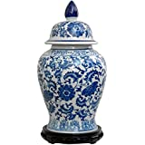 Oriental Furniture Authentic Asian Style Urn, 18-Inch Chinese Blue and White Porcelain Temple/Spice Jar, Floral Design