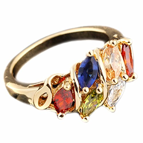 Women Colorful Copper Crystal Rhinestone Ring Gold Plated Diamond Ring Gift