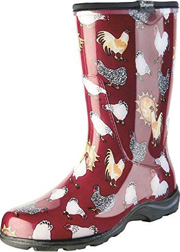 Sloggers Women's Rain and Garden Chicken Print Collection Garden Boots, Size 9, Barn Red (Garden Rain Boots compare prices)