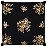 Saumya's Home Silk Cushion Cover - Black And Antique Gold, 12 X 12 Inch