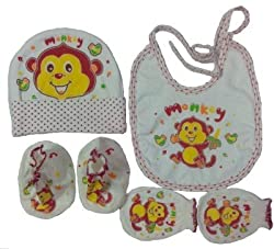Bubbles Baby Cap Bib Mittens And Booties Assorted Color