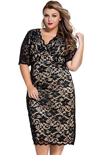 ZKESS Womens V-Neck Half Sleeve Lace Cocktail Dress Plus Size XX-Large Size Black