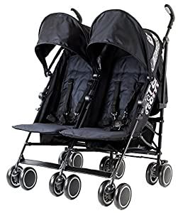 Zeta Citi TWIN Stroller Buggy Pushchair - Black Double Stroller Complete With FootMuffs from Baby TravelTM