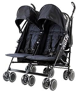 Zeta Citi TWIN Stroller Buggy Pushchair - Black Double Stroller by Baby TravelTM