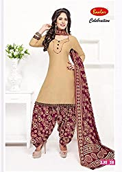 Taos Brand cotton dress materials for women womens dress materials cotton salwar suit New Arrival latest 2016 womens party wear Unstitched dress materials for women (318summer__multicolour and brown_freesize