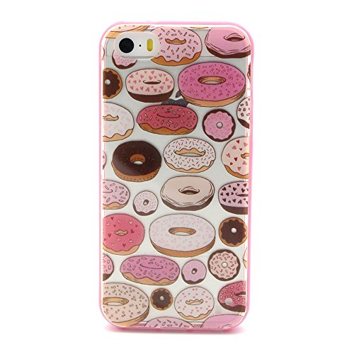 Kakashop iPhone 5 Custodia, iPhone 5S Fashion Cover, 2 in 1 Rosa Bumper Custodia Chiaro Trasparente Ultra Sottile Candy Donuts Design Copertura Di Caso TPU in Silicone Gel Morbido Protettiva Case Cover per Apple iPhone 5 5S + 1x Kakashop Kickstand