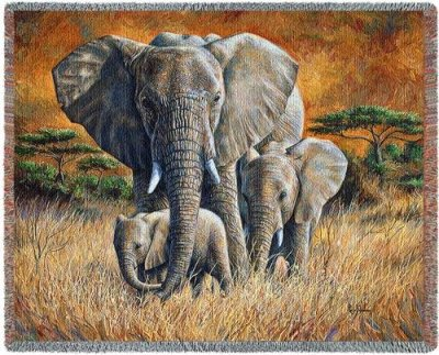 Animal Throw Blanket - Elephant Loving Mother Blanket Throw - 53 x 70 USA Made