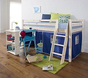 Mid Sleeper Wooden Whitewash Bunk Bed, Cabin bed+ Desk BLUE WW