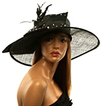 Fancy Kentucky Derby Floppy Crystals Feathers Big Ribbon Bow Church Hat Black