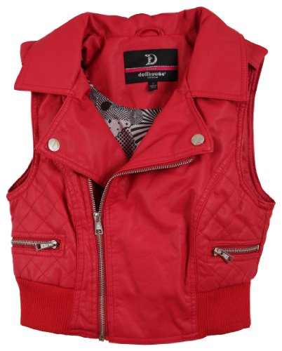 Dollhouse Junior'S Leather Look Quilted Sides Vest With Ribbed Trim - Juicy Red (Large)