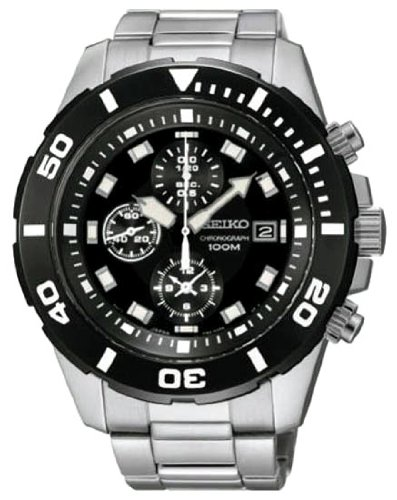 Seiko Sndd99P1 Chronograph Black Dial Stainless Steel Mens Watch.