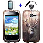 4 items Combo: ITUFFY LCD Screen Protector Film + Mini Stylus Pen + Case Opener + Outdoor Wild Deer Grass Camouflage Design Rubberized Snap on Hard Shell Cover Faceplate Skin Phone Case for Huawei Ascend Y M866/ H866 / H866C (Straight Talk / U.S.Cellular)